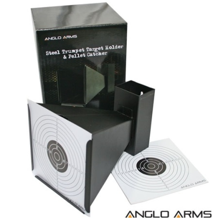 Anglo Arms 14cm Square Funnelled Target Holder / Catcher + 10 Targets