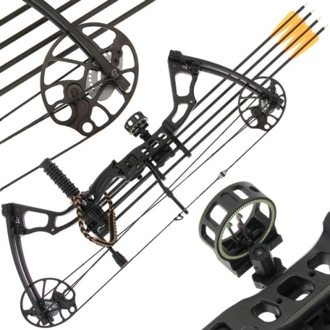 15 to 70lb Draw Black Chikara Archery Compound Bow Set