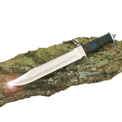 15 inch STUNNING STAINLESS STEEL 10 inch KNIVE BLADE WITH RUBBER HANDLE & SHEATH (BS011574)