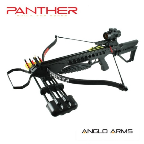175lb Draw Anglo Arms Black PANTHER Recurve Crossbow Kit with Accessories