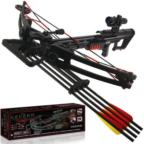 175lb Anglo Arms Black Compound 'LEGEND' Crossbow Kit with Accessories