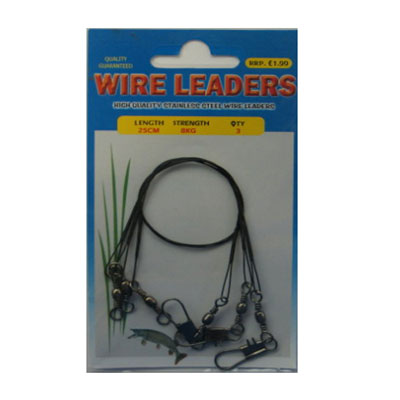 WIRE TRACES - WIRE LEADERS - 3 PACK, 25CM, 8KG