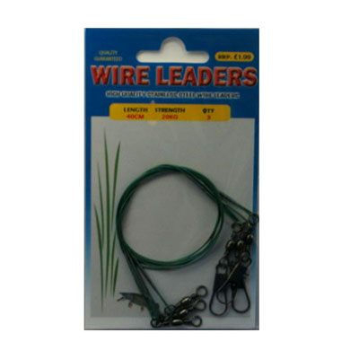 WIRE TRACES - WIRE LEADERS - 3 PACK, 40CM, 20KG