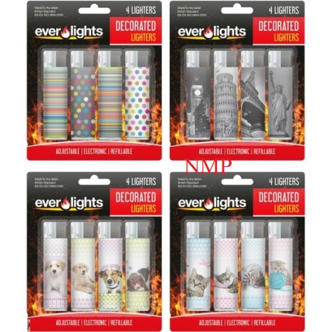 REFILLABLE ELECTRIC ASSORTED LIGHTERS 4 PACK