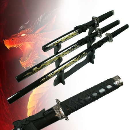 3pc Straight 'Golden Dragon' Sword Set With Stand