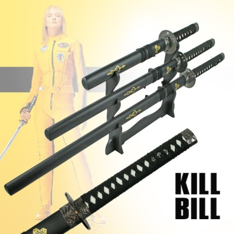 3pc Straight 'Kill Bill' Sword Set With Stand ( KS-3PC-KILL-BILL )