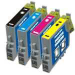 Epson T0715, ( T0711, T0712, T0713, T0714 ) Compatible Printer Ink Cartridges, ( Cheetah )    1 Full Set