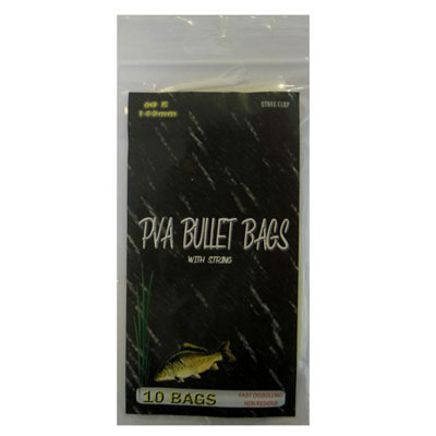60 x 145MM Fishing PVA BULLET BAGS WITH STRING (10 PACK )