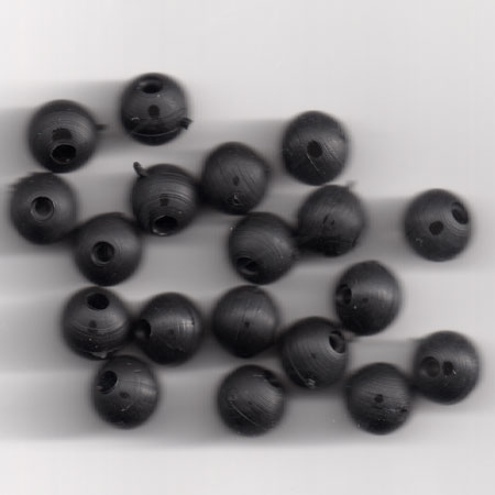 6mm SOFT RUBBER SHOCK BEADS FOR RIGS & STOPS ( BLACK ) Pack of 20 ( approx ) (made in uk)
