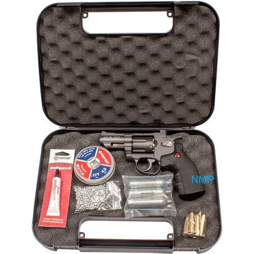 Crosman SNR357. SNR = Snub Nose Revolver CO2 Powered, Dual Ammo Full Metal .177 pellet, with KIT, co2, pellets, BBs, lube and case