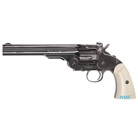 "ASG Schofield Revolver 6"" .177 (4.5mm) BB 12g Co2 Steel Grey Finish with Ivory effect Grip (6 shot BB)"