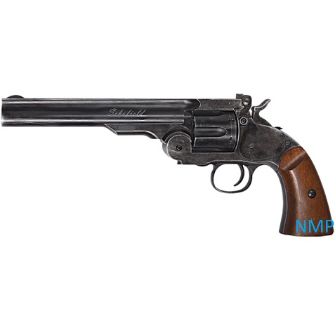 "ASG Schofield Revolver 6"" .177 (4.5mm) Pellet 12g Co2 Black Aged Finish with Wood effect Grip (6 shot .177 pellet)"