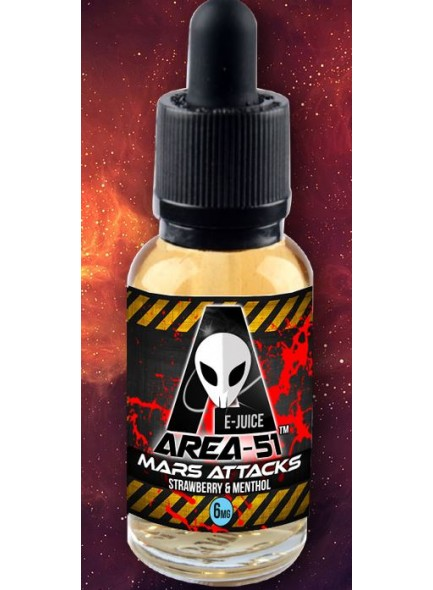 AREA 51 E JUICE - MARS ATTACKS - 50%/50% PG/VG RATIO STRAWBERRY AND MENTHOL FLAVOUR - 0mg - 30ml