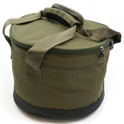 DELUXE OLIVE GREEN 'BAIT BIN' WITH HANDLES AND ZIP COVER (385)