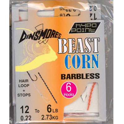 BEAST CORN SIZE 10 BARBLESS RIGS Pack of 6 DINSMORES