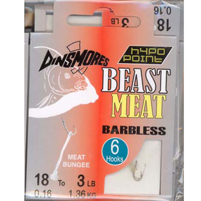 BEAST MEAT SIZE 18 BARBLESS RIG Pack of 6 DINSMORES