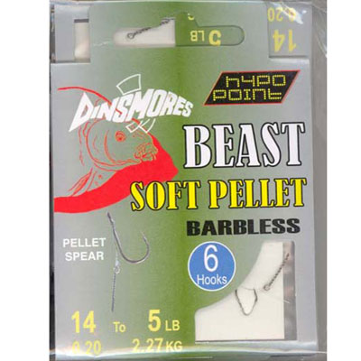 BEAST SOFT PELLET SIZE 14 BARBLESS RIG Pack of 6 DINSMORES