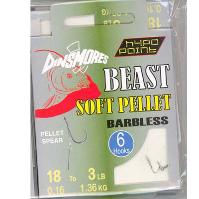 BEAST SOFT PELLET SIZE 18 BARBLESS RIG Pack of 6 DINSMORES