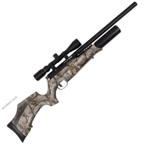 BSA R-10 MK2 Woodland Camo Stock & Shrouded Barrel ( Bull Barrel ) Pre-charged Rifle Full Power .177 Calibre