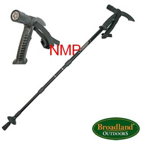 Black Aluminium 3 Section adjustable telescopic walking stick/pole with Compass, anti-shock mechanism and LED Light