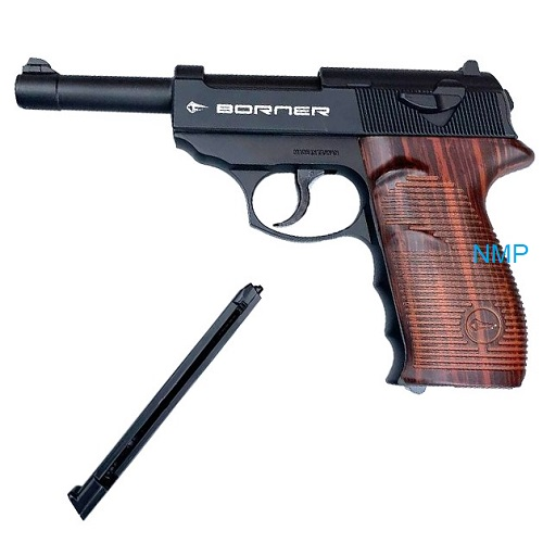 Borner P38, C41 Co2 Air Pistol None-Blowback 4.5mm Steel BBS Metal Black