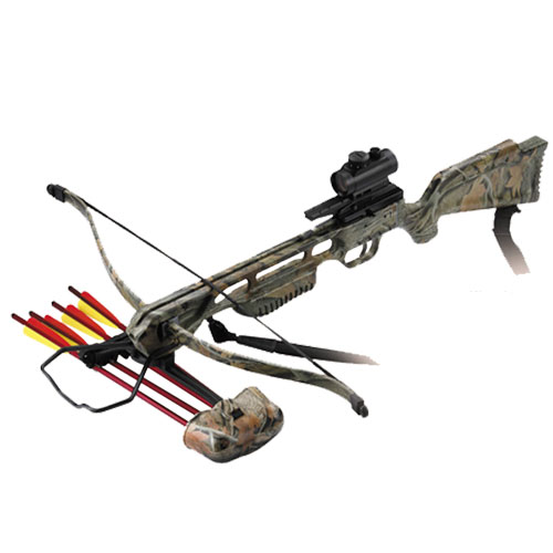 150lb Anglo Arms JAGUAR Camo Recurve Crossbow KIT With Red Dot Sight (CB-150-CAMO-DLX)