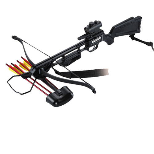 150lb Draw Anglo Arms JAGUAR Black Recurve Crossbow KIT With Red Dot Sight (CB 150 BLK DLX)