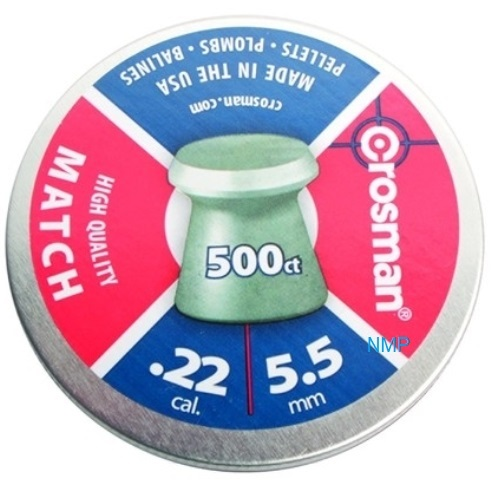Crosman Match Wadcutter Flathead .22 calibre 14.3 Grains Airgun Pellets, tin of 500