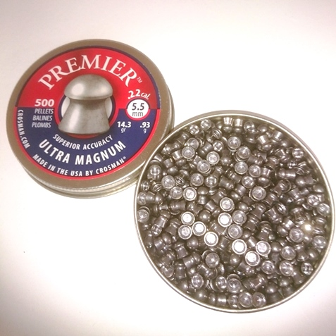 CROSMAN Premier Ultra Magnum .22 Cal, 14.3 Grains, Round Nose, 500 x 5 tins