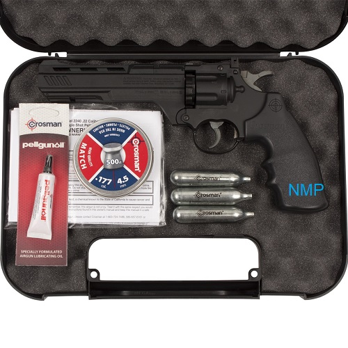 "CROSMAN 3576W Vigilante 12g co2 air pistol revolver, 6"" barrel, fires .177 calibre pellets & .177 steel BB (10 shot pellet - 6 shot BB) Strater Kit"
