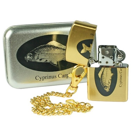 Carp Themed Gold Coloured Petrol Pocket Lighter with chain & gift tin