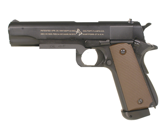6MM AIRSOFT Pistol Colt 1911 A1 Metal Body ( 12g co2 powered ) ( 24 shot 6mm BB ) (KJW) ( SP180508 ) kit with pistol bag, 12 gram co2 and some 6mm bb's