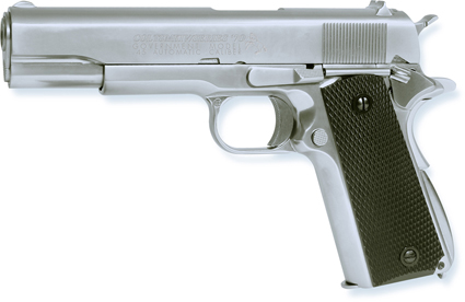 Colt 1911 MKIV chrome Full metal blowback Gas powered ( 6mm BB ) kit with pistol bag and some 6mm bb's 6MM AIRSOFT Pistol