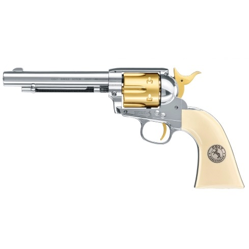 Colt SAA.45 Peacemaker Single Action Army .177 calibre 12g co2 air pistol 6 shot pellet GOLD NICKEL 5.5 inch Umarex