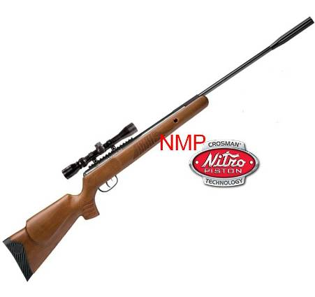 Crosman Nitro Venom Rifle Nitro Piston technology with a Center Point 3 9 x 32mm precision scope (.22 calibre air gun pellet) wood stock