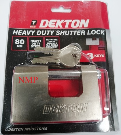DEKTON 80MM HEAVY DUTY ROTATING STEEL SHACKLE SHUTTER PADLOCK WITH 3 KEYS