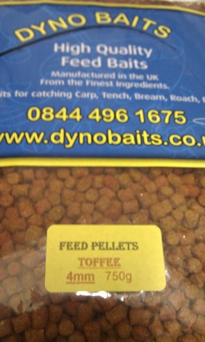TOFFEE FLAVOUR FEEDER PELLETS ( 4mm ) ( DYNO BAITS ) 750g bag