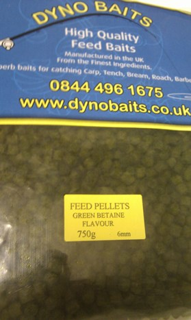 GREEN BETAIN FLAVOUR FEEDER PELLETS ( 6mm ) ( DYNO BAITS ) 750g bag