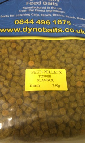 TOFFEE FLAVOUR FEEDER PELLETS ( 6mm ) ( DYNO BAITS ) 750g bag