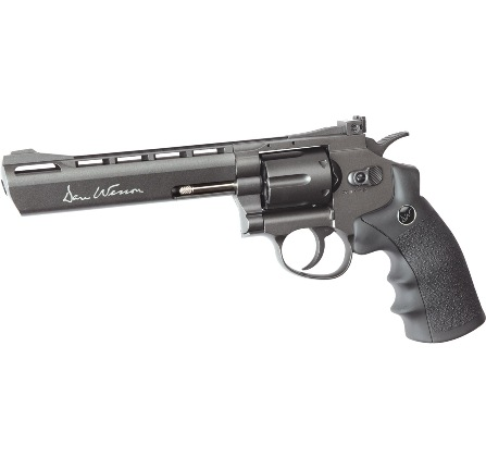 "6MM AIRSOFT Pistol ASG Dan Wesson 6"" Barrel grayish Black Licensed 6"" Revolver 12g CO2 Air Pistol Fires 6 mm Nylon BB'S ( 6 shot 6mm BB )"