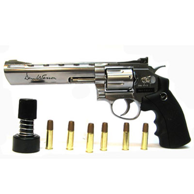 "6MM AIRSOFT Pistol ASG Dan Wesson 6"" Barrel Silver Licensed 6"" Revolver 12g CO2 Air Pistol Fires 6 mm Nylon BB'S ( 6 shot 6mm BB ) kit with pistol bag, co2 and some 6mm bb's"