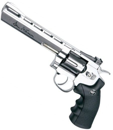 "ASG Dan Wesson .177 Lead Pellet CO2 Pistol 6"" Barrel Silver Revolver ( 6 shot Pellet ) Sold as seen (Ex Demo stock collected from store and paid in cash) Ex Demo"
