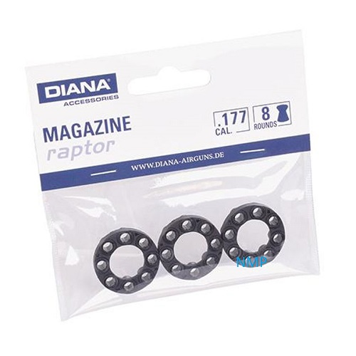 Diana Spare Magazine to suit Raptor Co2 Revolver, 3 Pack 8 Shot 4.5mm