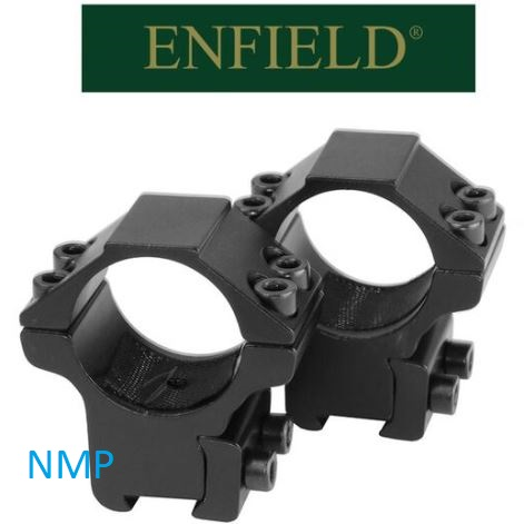 Enfield mounts 9 to 11mm dove tail aluminium 2 piece Medium mounts with arrester pin For 1″ scopes