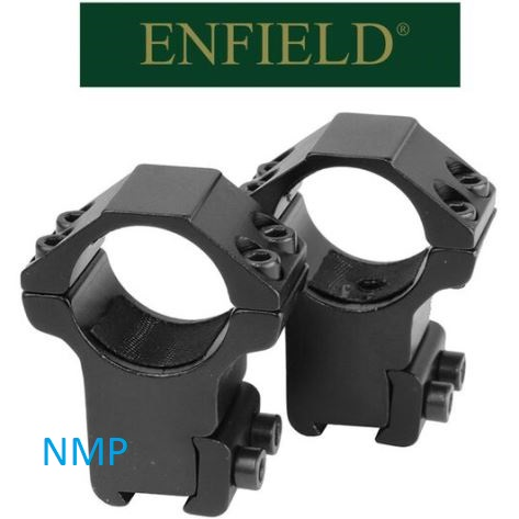 Enfield mounts 9 to 11mm dove tail aluminium 2 piece High mounts with arrester pin For 1″ scopes