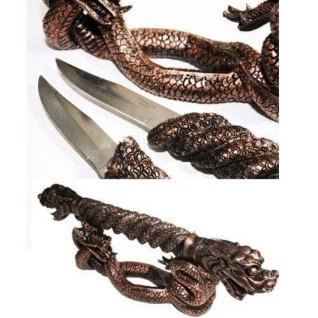 Eastern Dragon and Snake Fantasy Dagger Set (HK03086W)