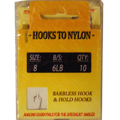 A PACK OF 10 BARBLESS HOOKS TO NYLON - 6LB BREAKING STRAIN ( SIZE 8 )