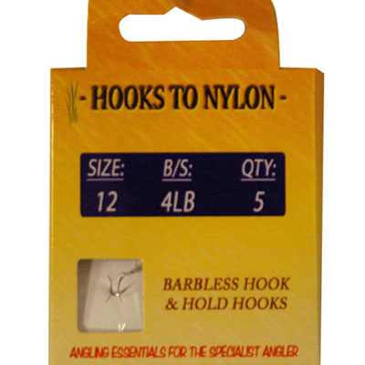 A PACK OF 5 BARBLESS HOOKS TO NYLON WITH PASTE COIL - 4LB BREAKING STRAIN ( SIZE 12 )