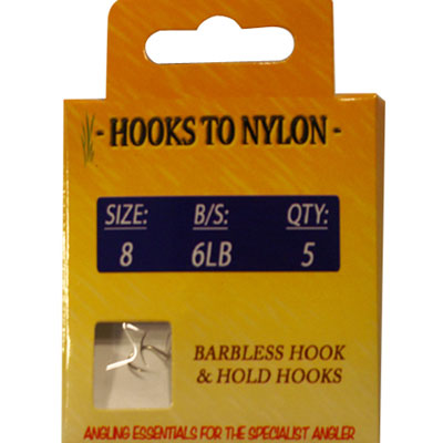 A PACK OF 5 BARBLESS HOOKS TO NYLON WITH PASTE COIL - 6LB BREAKING STRAIN ( SIZE 8 )
