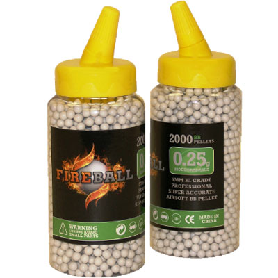 2000 x 6mm 0.25g BB Polished White Polished high grade FireBall Performance Airsoft Pellets Biodegradable 0.25g 2000 bottle